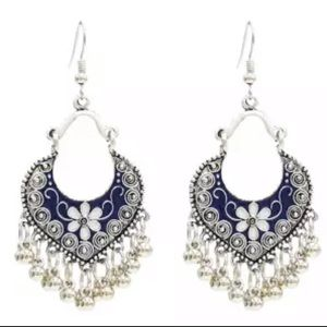 Jewelry - Boho Drop Earrings Blue & White Enamel Accents